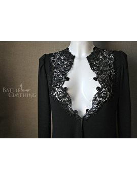 Vanessa Black Cardigan Goth Victorian Jacket Lace Collar Long Sleeved by Etsy
