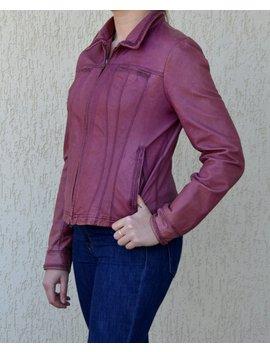 Genuine Leather Biker Jacket Purple Leather Jacket Womens Boyfriend Car Coat Boho Zip Up Jacket Vintage Croped Blazer Medium Large Size by Etsy