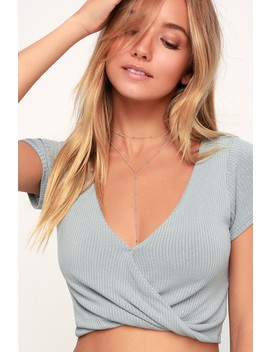 Kennon Light Grey Ribbed Surplice Crop Top by Lulu's