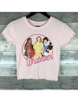Clueless Whatever Graphic Tee Size Small Ribbed Pink Lettuce Edge Trim 90's by Clueless