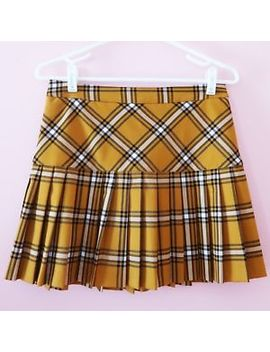 Forever 21 Mustard Yellow Pleated Plaid Schoolgirl Clueless Skirt   Size M by Forever 21