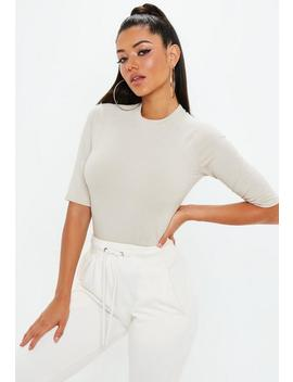 Nude High Neck 3/4 Sleeve Fitted T Shirt by Missguided