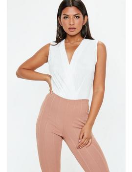 White Plisse Sleeveless Wrap Bodysuit by Missguided