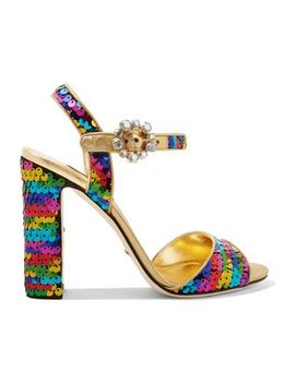 Crystal Embellished Sequined Metallic Leather Sandals by Dolce & Gabbana