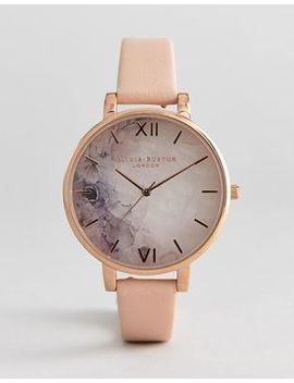 Olivia Burton Ob16 Sp03 Semi Precious Stone Leather Watch In Blossom by Olivia Burton