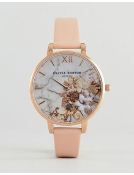 Olivia Burton Ob16 Cs12 Marble Floral Leather Watch by Olivia Burton