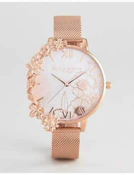 Olivia Burton Ob16 Cb13 Case Cuff Mesh Watch In Rose Gold by Olivia Burton