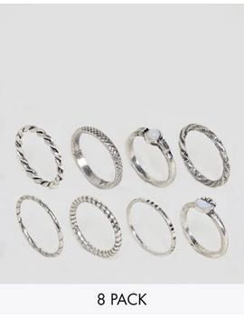 Asos Pack Of 8 Woven Band And Stone Rings by Asos Collection