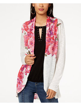 I.N.C. Floral Print Open Front Cardigan, Created For Macy's by Inc International Concepts