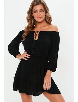 Black Bardot Tassel Skater Dress by Missguided