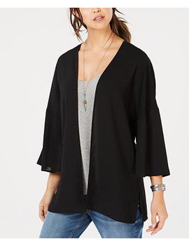 Juniors' 3/4 Sleeve Embroidered Kimono by Hippie Rose