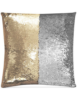 """Mermaid Colorblocked Pale Gold & Silver Sequin 18"""" Square Decorative Pillow by Hallmart Collectibles"""