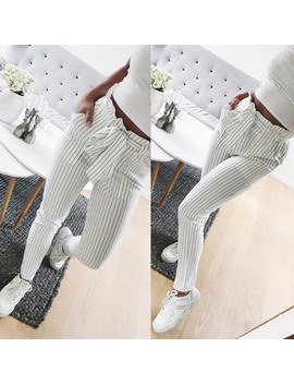 Fashion Summer Women Harem Pants Striped Ol High Waist Elastic Bow Tie Drawstring Pockets Ladies Casual Trousers  Mx8 by Swokii