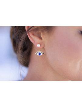 Gold Evil Eye Earrings   Ear Jacket, Protection Jewelry, Gold Earrings, Pearl Ear Jacket, Pearl Ear Cuff by Etsy