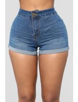 Shape Shift Shorts   Medium Blue Wash by Fashion Nova