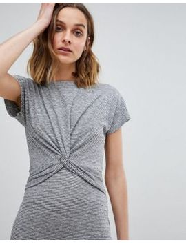 All Saints Striped Midi Dress With Knot Front by All Saints