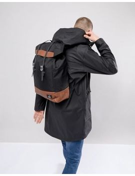 Asos Design Hiker Backpack In Black With Double Strap And Tan Trims by Asos Design