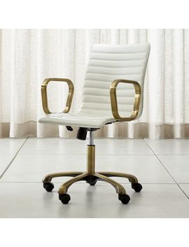 Ripple Ivory Leather Office Chair With Brass Frame by Crate&Barrel
