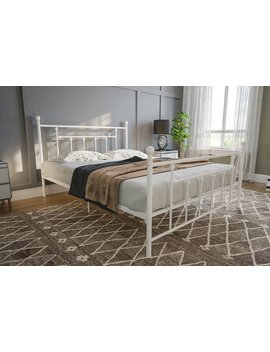 Dhp Manila Metal Bed With Victorian Style Headboard And Footboard, Includes Metal Slats, Full Size, White by Dhp