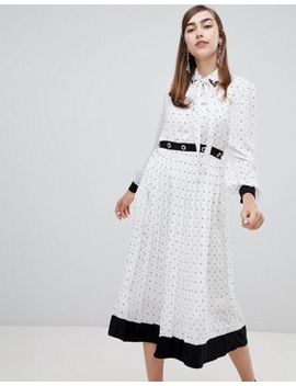 Sister Jane Midi Dress With Pussybow And Jewel Embellishment In Star Polka Dot by Sister Jane