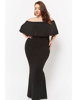 Plus Size Flounce Off The Shoulder Maxi Dress by Forever 21