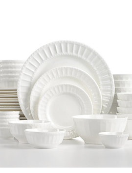 White Elements Paloma Embossed 42 Piece Set, Service For 6 by Gibson