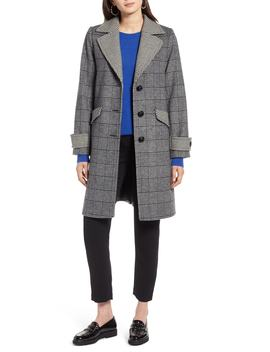 Plaid Mix Wool Coat by Halogen®