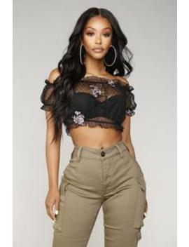 We All Want Love Embroidered Top   Black by Fashion Nova