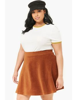 Plus Size Corduroy Skater Skirt by Forever 21
