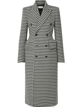 Double Breasted Houndstooth Wool Blend Coat by Balenciaga