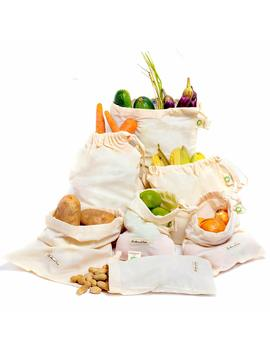 All Cotton And Linen Premium Reusable Produce Bag   Set Of 4 (2 Ea. L, 1 Ea. Of M & S) Organic Cotton Muslin Bag   Double Stitched Strength, Tare Weight On Tags With Drawstring, Preserve Your Produce by Amazon