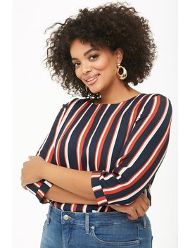 Plus Size Striped Cuffed Top by Forever 21