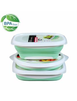 Collapsible Food Storage Containers For Kitchen Fresh Box  Bpa Free Lunch Bento, 3 Pack With Square+Round+Rectangle Insulated Foldable Food Containers   Reusable Washable Lunch Containers   Green by Jiajibao