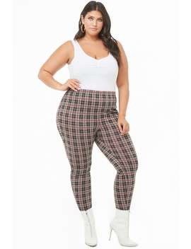Plus Size Plaid High Waisted Pants by Forever 21