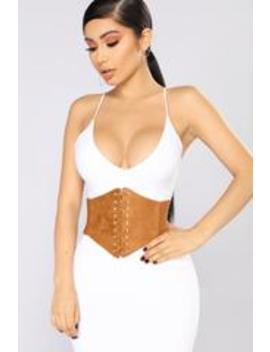Everything I Need Corset Belt   Tan by Fashion Nova