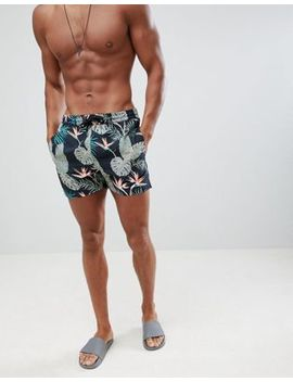 Boohoo Man Swim Shorts With Leaf Print In Black by Boohoo Man