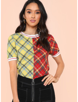 Two Tone Plaid Print Ringer Tee by Shein