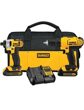 20 Volt Max Lithium Ion Cordless Drill/Driver And Impact Combo Kit (2 Tool) With (2) Batteries 1.3 Ah, Charger And Bag by Dewalt