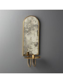 Edin Antiqued Mirror Taper Candle Wall Sconce by Crate&Barrel