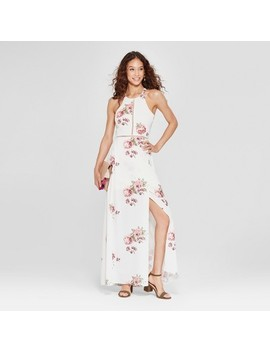 Women's Floral Print Halter Maxi Dress   Love @ First Sight (Juniors') White by Love @ First Sight