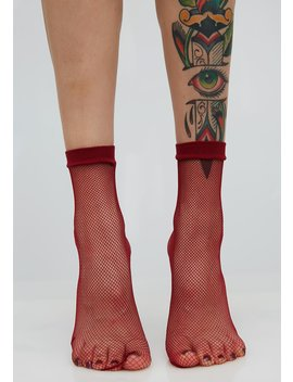 Wine Quick Step Fishnet Socks by Leg Avenue