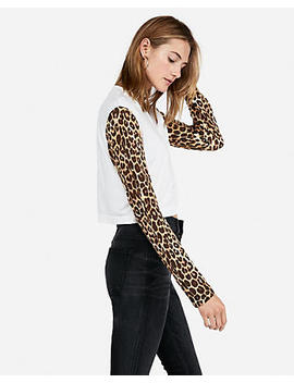 Express One Eleven Leopard Sleeve Boxy Tee by Express