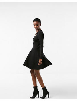 Crisscross Neck Puff Shoulder Fit And Flare Dress by Express