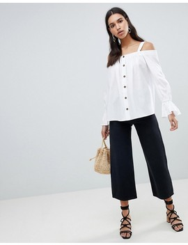 Asos Design Premium Cotton Off Shoulder Top With Contrast Buttons by Asos Collection
