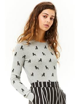 Poodle Print Knit Sweater by Forever 21