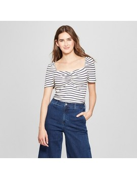 Women's Striped Short Puff Sleeve Square Neck Top   Who What Wear™ by Who What Wear