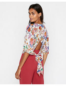 Petite Floral Pleated Kimono Sleeve Wrap Blouse by Express