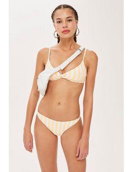 Striped Twist Ribbed Bikini Cropped Top by Topshop