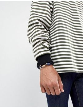 Icon Brand Navy Cord Bracelet With Anchor Closure by Icon Brand