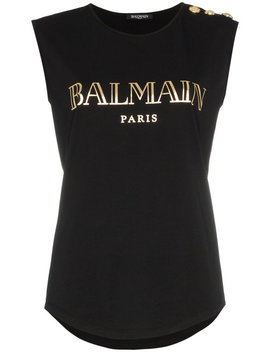 Black Sleeveless Logo Print Cotton T Shirt by Balmain